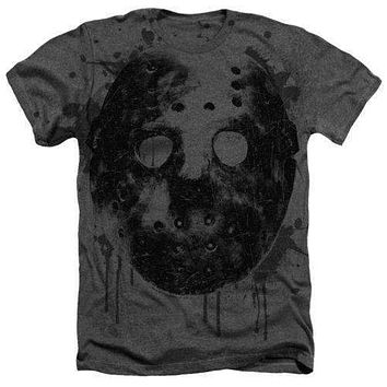 Friday the 13th Jason Mask Adult Heathered Tee Shirt