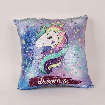 Reversible Mermaid Sequins Cushion Cover 40*40 Unicorn Decorative Flip Pillow case for Sofa Glitter Home Decor covers Drop Ship