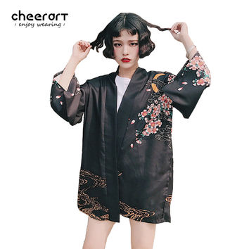 Cheerart Black Kimono Cardigan Women Summer Fish Carp Print Chiffon Blouse 2017 Vintage Japanese Cardigan Top Clothing