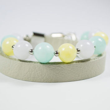 Jade Pastel Colours Beads bracelet. Mandes Bracelets - Candy - Real Leather and Natural Stone Beads.
