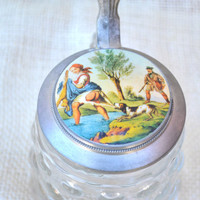 German Rein-Zinn bubble glass Stein // Schnapskrugerl stein with hunting scene on lid