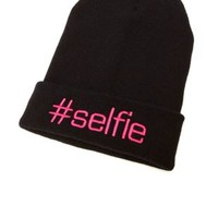 #Selfie Ribbed Fold-Over Beanie by Charlotte Russe - Black Combo