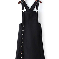 Black Overall Dress with Side Button