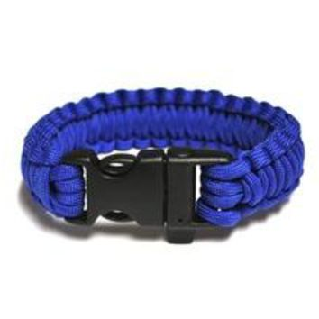 Survival Bracelet w/Whistle - Blue