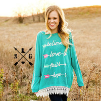 Adults Inspirational Arrows on Turquoise Loose Tunic