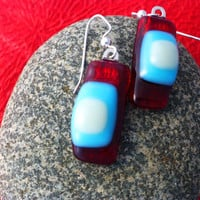 Valentines day dichroic glass earrings, modern red, light blue and white