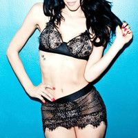 Crystallized eyelash lace and satin bra and skirt