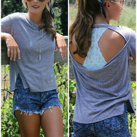 Fade To Gray Open Back Basic Short Sleeve Tee