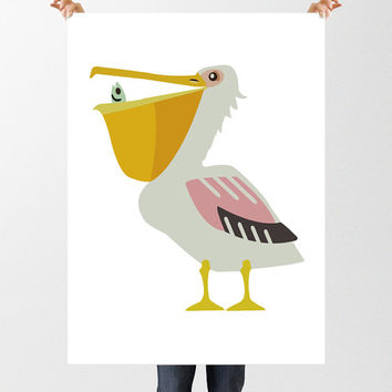 Nursery Art Pelican Print, Printable Kids Wall Art, Quirky Bird Print, Last Minute New Baby Gift, Instant Download, Modern Nursery Decor