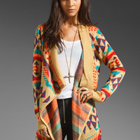 UNIF Desert Poncho Wrap Sweater in Tan/Multi from REVOLVEclothing.com