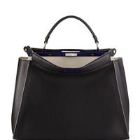 Peekaboo Large Satchel Bag, Black/White - Fendi