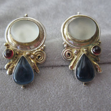 Vintage Antique Sterling Silver Art Deco Revival Earrings with Lucite Moonstones and Sapphires Ca. 1940's-1950's