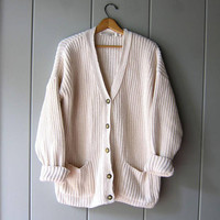 Chunky White Sweater Button Up Cardigan Sweater Thick Cotton Oversized Sweater with Pockets Preppy Layering Fall Sweater Women Large XL
