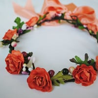 Coral Rose Flower Crown