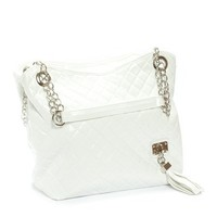 White Lillian Quilted Chain Strap Purse Hanbag
