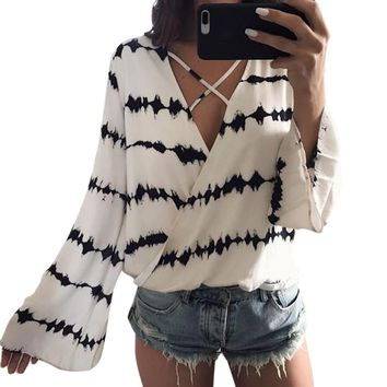 Cool and Casual Long Sleeve Stripe Printed Chiffon Blouse