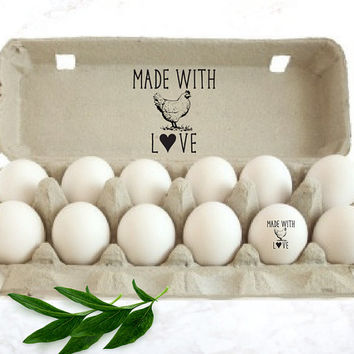 Custom Egg Carton Stamp - MADE WITH LOVE Chicken Stamp - Chicken Lady Valentine's Gift - Farm Egg Carton Label Stamp - Chicken Coop Gift