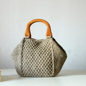 Knitted women Tote, women fashion Fall tones, handmade knit bag, christmas gifts idea, beige melange