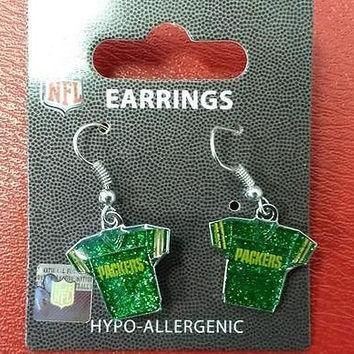 NFL Green Bay Packers Silver Glitter Jersey Dangle Earrings