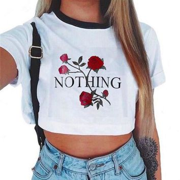 Fashion Casual Print Flower Crop Tops-1