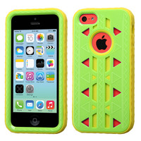 MYBAT Aztec Armor Hybrid Case for iPhone 5C - Pearl Green/Yellow