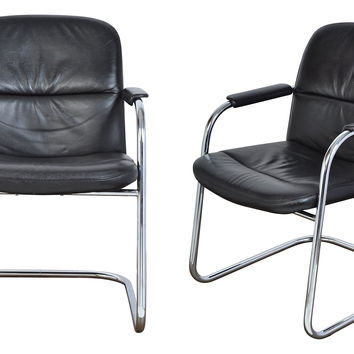 Cantilever Leather & Chrome Chairs, Pair