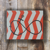Infinity Sign Canvas Painting, Orange Chevron Painting, Nautical Decor for Office, Modern Art Painting, Chevron Picture, Anchor Artwork