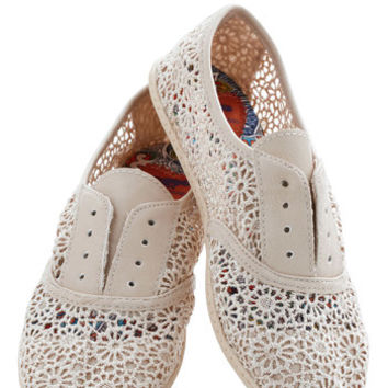 ModCloth Think Outside the Bocce Flat in Lace