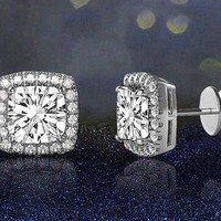 1.0 Cttw Real Diamond Halo Square Cluster Screwback Stud Earrings