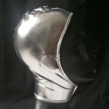READY TO SHIP Sci-fi Space Cadet Unisex Metallic Silver Spandex Stretch Hood with Velcro Front Closure One Size