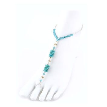 Turquoise Precious Stone Discs & Pearl Stretch Barefoot Sandals Beach - 1 Pair