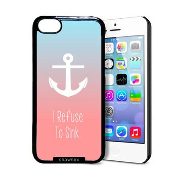 Shawnex I Refuse To Sink Anchor Coral Ombre iPhone 5C Case - Thin Shell Plastic Protective Case iPhone 5C Case