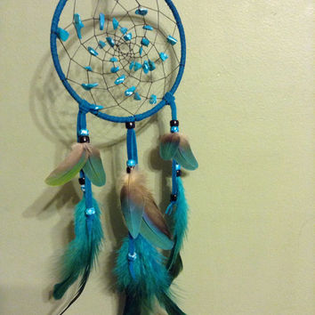 Dream catcher macaw and rooster feathers