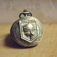 Attack on Titan-Antique Charm Wall Maria Pocket Watch Necklace Y177