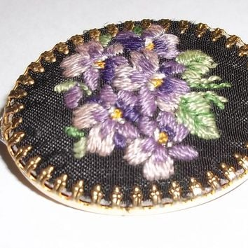 Vintage Hand Embroidered Purple Flowers Cameo Style Gold Tone Brooch/Pendant