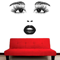 Wall Decal Vinyl Sticker Decals Art Decor Design Beauty Salon Girl Face Eyes Lips Cosmetic Fashion Style Girls Bedroom Kids Children (r593)