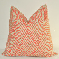 Pillow Cover - On BOTH SIDES - Decorative Pillow - Throw Pillow - Toss Pillow - Sofa Pillow - Geometric - 17x17 inch - Orange - Taupe