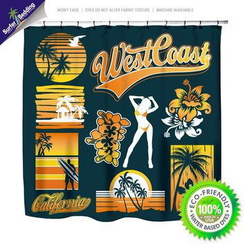 West Coast California Dreamin Surf Shower Curtain