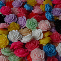 20 Assorted Bright Color Large Rose Flower Resin Flat back Cabochons
