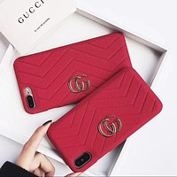'' GUCCI '' Fashion iPhone Phone Cover Case For iphone 6 6s 6plus 6s-plus 7 7plus 8 8plus iPhone X Red