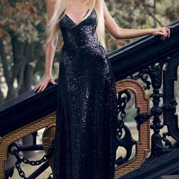 Shimmer and Shine Black Sequin Sleeveless Spaghetti Strap Plunge V Neck Backless Maxi Dress Evening Gown - As Seen on Kristina Dolinskaya - Back in Stock