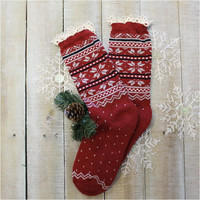 EDELWEISS red  lace slipper sock, lace sock, fall sock, slipper, walking, hiking, boot cuff sock | SS1