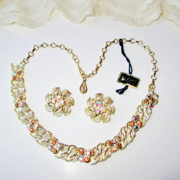 Coro Pegasus Necklace Earring Set Vintage NIB Aurora Borealis Designer Fall Color Costume Jewelry Set High Fashion Christmas Stocking Gift