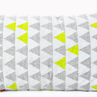 """Mountains of Montana - neon yellow and grey triangle pattern organic pillow, hand printed, 14"""" x 24"""""""