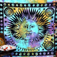 TIE DYE TAPESTRY : Cool Tones, Coachella, Hippie, Astrological, Sun, Moon, Bohemian, Wall Decor, Galaxy