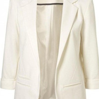 White Three Quarters Elegant Blazer