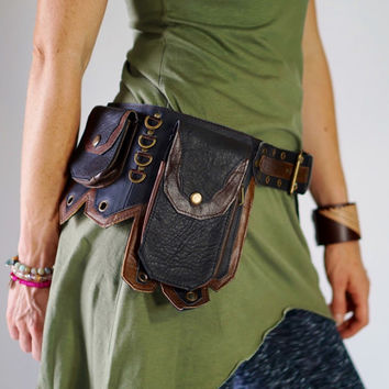 TWO TONE - Handmade Leather Utility Belt with Pockets Renaissance Festival Hip Pockets Belt Festival Steampunk Belt Brown & Black