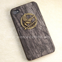 iPhone 4 case, iPhone 4s case, The Hunger Games Mockingjay pendant black case, Apple iPhone Case 4, iPhone Case 4s, iPhone 4 Hard Case