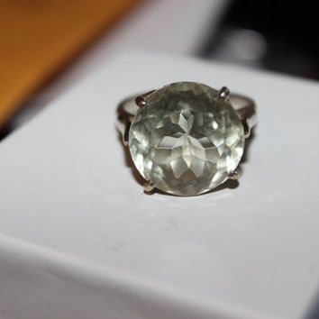 10ct Green Amethyst Ring size 8 Natural GORGEOUS February Birthstone Antique Engagement