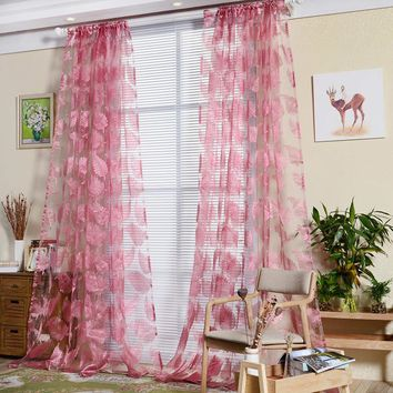 Transparent Flat Yarn Window Curtain Leaf Printed Feathers Screens Tulle Curtain for Living Room Bedroom Decoration